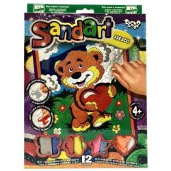 Набор креативного творчества Фреска из песка. Медвежонок с сердечком, 12 цветов