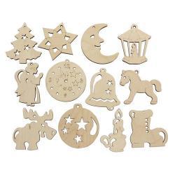 Деревянная заготовка Набор ёлочных игрушек, ассорти, 12 штук, арт. L-857