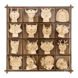 Набор елочных украшений из дерева, 16 видов по 4 штуки